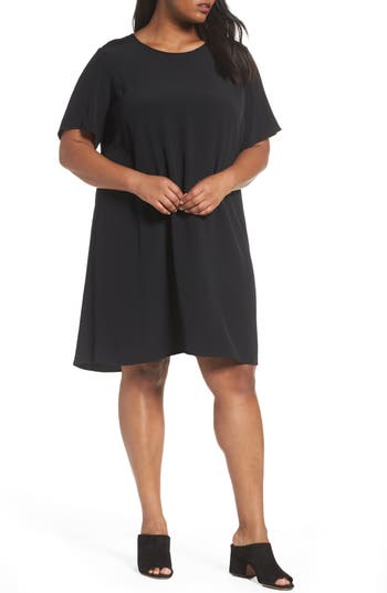 Plus Size Eileen Fisher Tencel Blend Jersey Shift Dress, Black