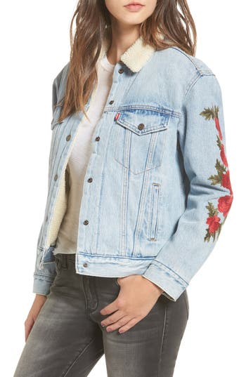 Women's Levis Ex-Boyfriend Faux Shearling Lined Denim Jacket, Size X-Small - Blue