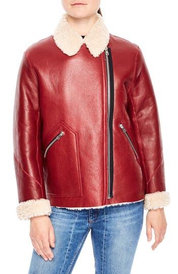 Sandro Genuine Shearling Jacket, Pink