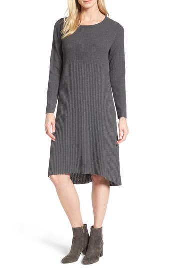 Eileen Fisher Ribbed Wool Sweater Dress, Brown