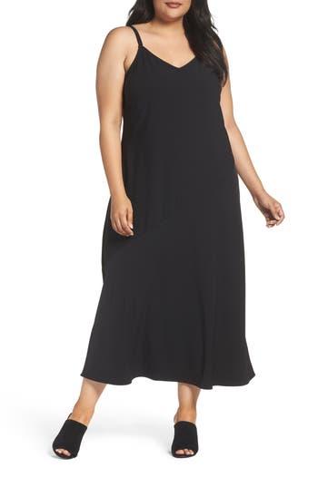 Plus Size Sejour V-Neck Midi Slipdress, Black