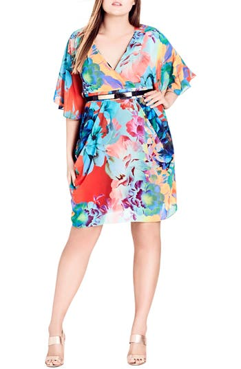 Plus Size City Chic Summer Wrap Dress, Coral