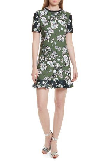 Ted Baker London Hoster Floral Print Ruffle Hem Dress, Green