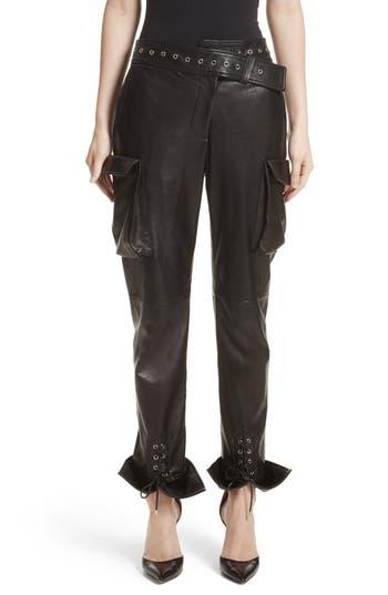 Monse Leather Cargo Pants, Black