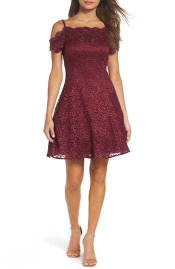 Morgan & Co. Off The Shoulder Lace Fit & Flare Dress, /4 - Red
