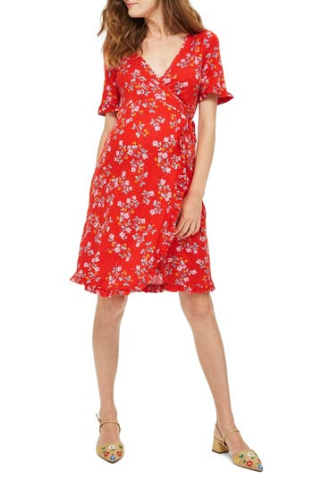 Women's Topshop Ditsy Floral Maternity Wrap Dress, Size 6 US (fits like 2-4) - Red