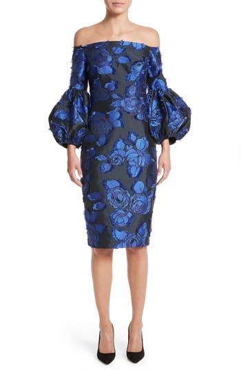 Lela Rose Fring Brocade Puff Sleeve Dress, Black