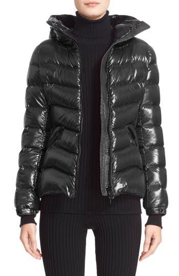 Women's Moncler Anthia Water Resistant Shiny Nylon Hooded Down Puffer Jacket