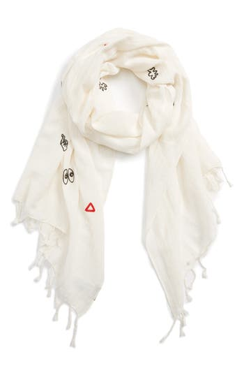 Women's Madewell Embroidered Making Faces Scarf