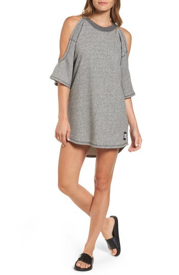 Ivy Park Cold Shoulder Sweatshirt Dress, Grey
