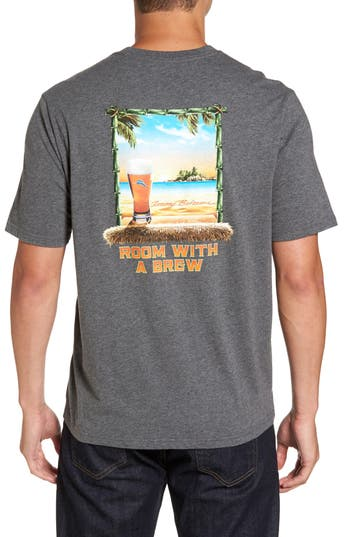 Tommy Bahama Room With A Brew Standard Fit T-Shirt, Grey