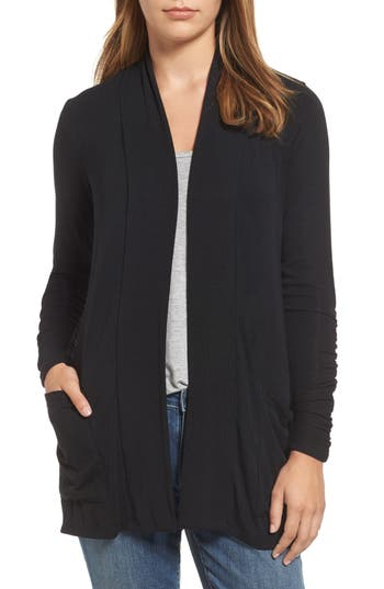Women's Bobeau Ruched Sleeve Cardigan, Size X-Small - Black