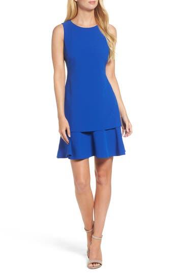 Eliza J Crepe Fit & Flare Dress, Blue