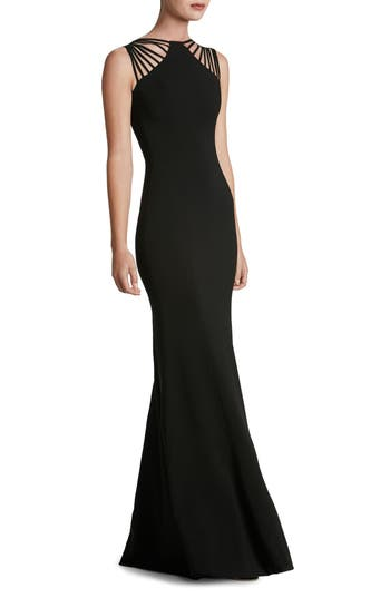 Dress The Population Harlow Crepe Gown, Black