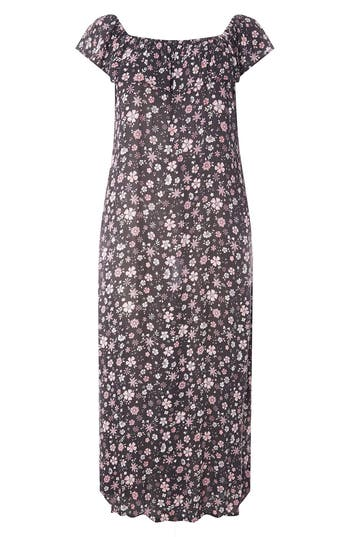 Plus Size Evans Ditsy Floral Convertible Maxi Dress, 8W-20W US / 22-24 UK - Black