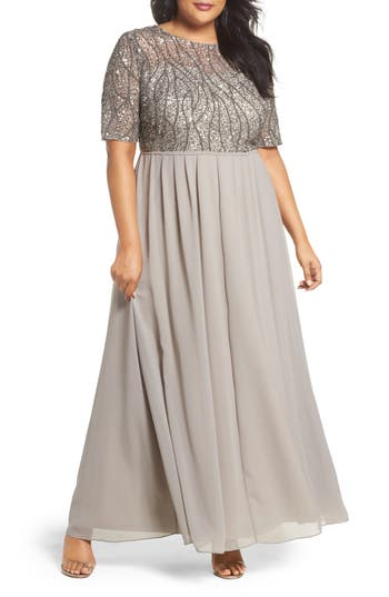 Plus Size Adrianna Papell Beaded Bodice Gown, Grey