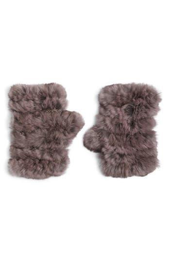 Jocelyn Genuine Rabbit Fur Fingerless Knit Mittens, Size One Size - Purple