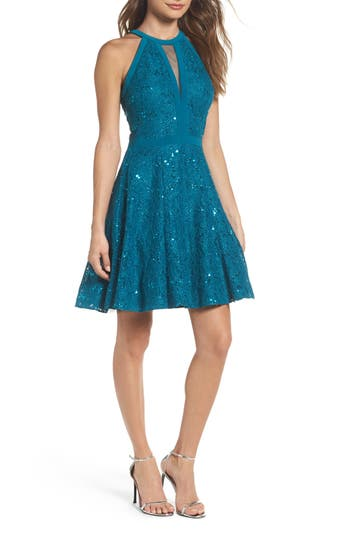 Morgan & Co. Cleo Embellished Lace Fit & Flare Dress, /2 - Blue