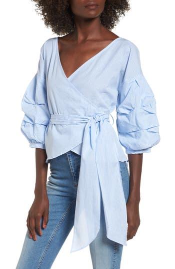 Women's Socialite Bubble Sleeve Wrap Top, Size X-Small - Blue