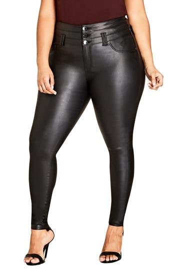 Plus Size Women's City Chic Skylar Coated Corset Super Stretch Skinny Jeans