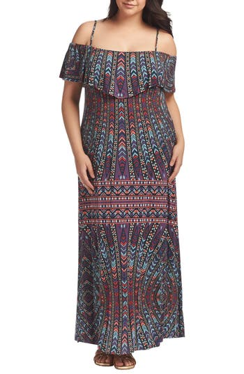 Plus Size Tart Tacita Off The Shoulder Maxi Dress, Blue