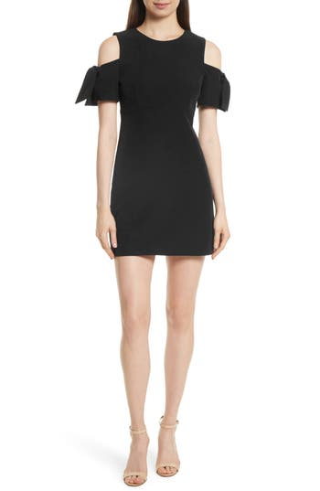 Milly Italian Cady Mod Tie Cold Shoulder Minidress, Black