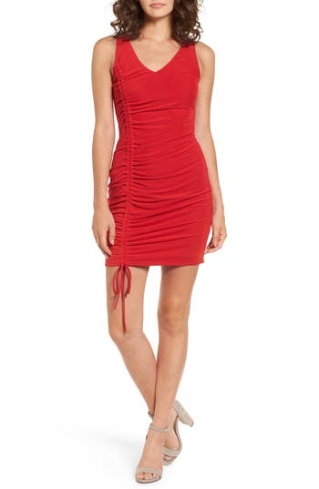 Lush Ruched Dress, Red