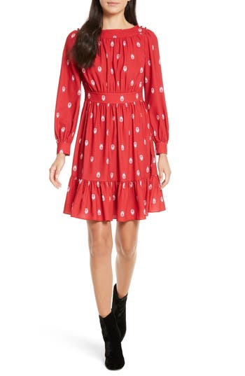 Kate Spade New York Nesting Doll A-Line Dress, Red