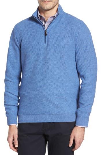 David Donahue Honeycomb Merino Wool Quarter Zip Pullover, Blue
