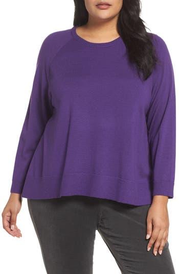 Plus Size Eileen Fisher Round Neck Merino Sweater, Purple