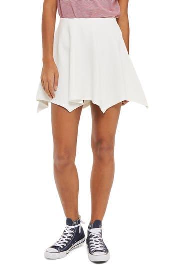 Topshop Handkerchief Hem Jersey Flippy Skirt, US (fits like 0) - Ivory