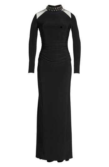Vince Camuto Mesh Panel Gown, Black