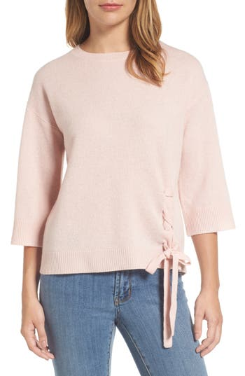 Halogen Side Tie Wool And Cashmere Sweater, Pink