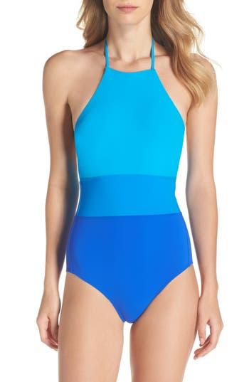 Diane Von Furstenberg Halter One-Piece Swimsuit, Size Petite - Blue