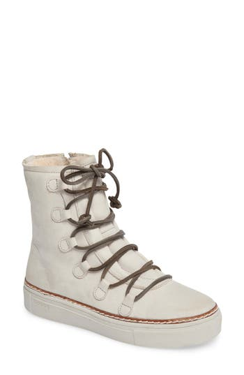 Blackstone Ol26 Genuine Shearling Lined Lace-Up Bootie Grey