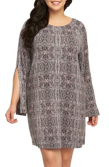 Plus Size Tart Avia Print Split Sleeve Shift Dress, Purple