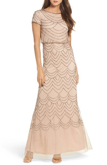 Adrianna Papell Beaded Blouson Gown, Pink