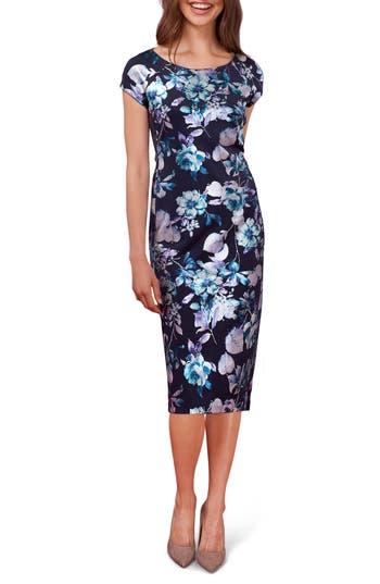 Eci Floral Print Midi Dress, Blue