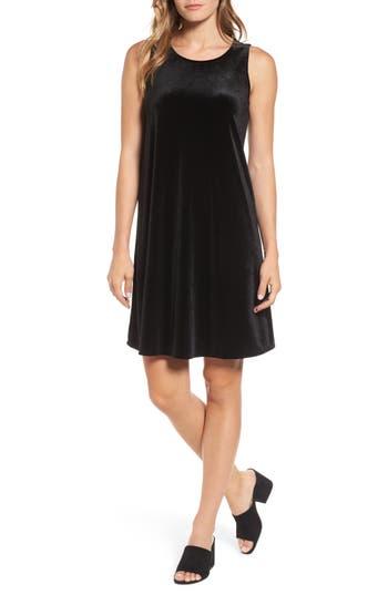 Halogen Velvet Trapeze Dress, Black