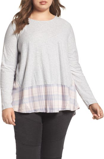 Plus Size Two By Vince Camuto Mixed Media Plaid Top, Grey