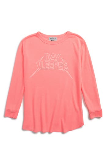 Girl's Wildfox Day Sleeper Thermal Top, Size 7-8 - Pink