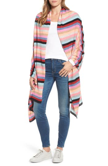Women's White + Warren Travel Stripe Cashmere Wrap, Size One Size - Pink