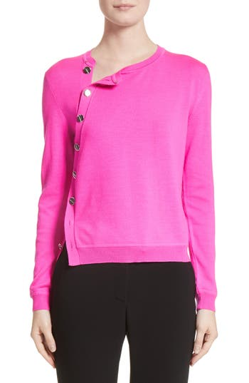 Altuzarra Button Detail Merino Wool Crop Sweater, Pink