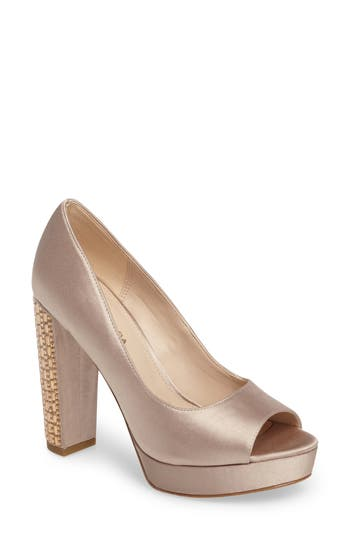 Pelle Moda Paris Peep Toe Pump- Metallic