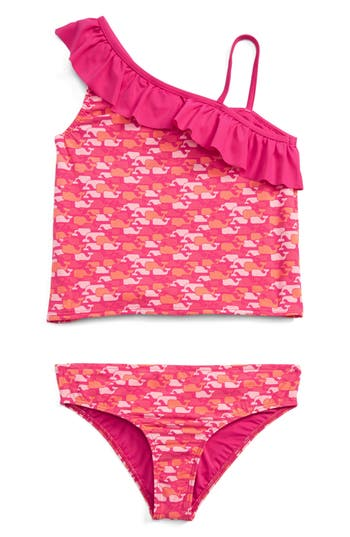 Girl's Vineyard Vines Whale Outline Two-Piece Tankini Swimsuit, Size S (7-8) - Pink