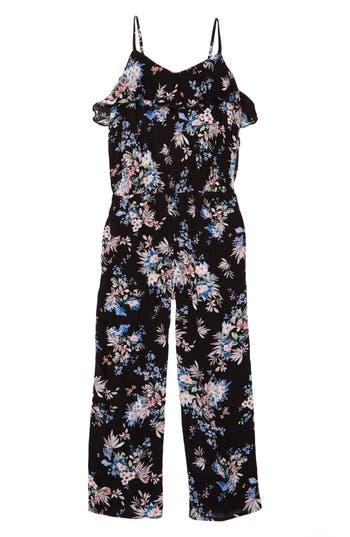 Girls Mia Chica Floral Print Jumpsuit Size S (78)  Black