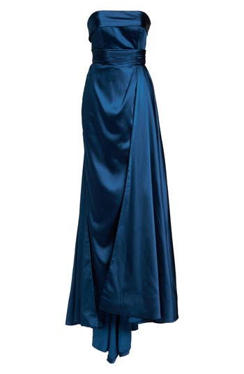 MAC Duggal Ruched Strapless Satin Gown, Blue