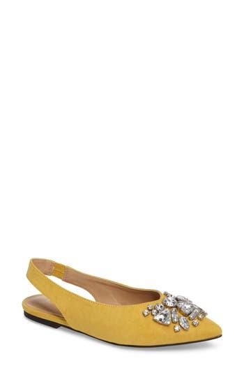 Topshop Ava Embellished Slingback Flat - Yellow
