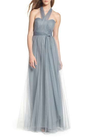 Jenny Yoo Annabelle Convertible Tulle Column Dress, Blue