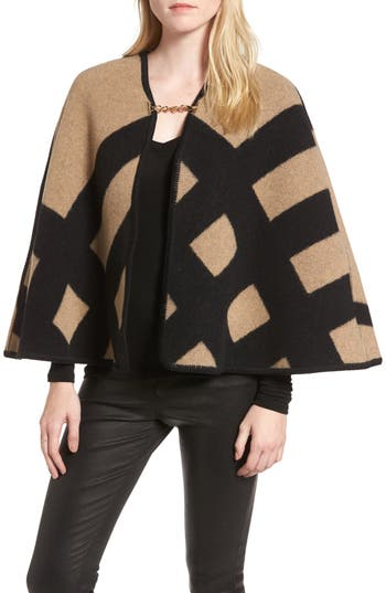 Women's Burberry Blanket Check Wool & Cashmere Poncho